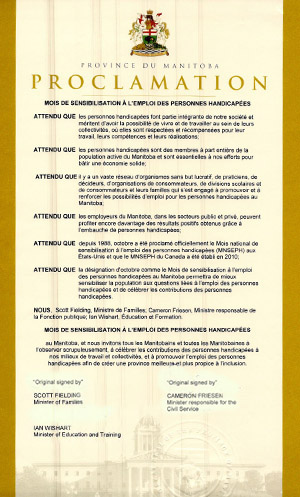 2014 Disability Employment Awareness Month Proclamation - French