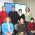 Russ and his support network: From left to right (back): Lorne Keeper, Russ Hilsher, Delores McKay, Jewel Reimer, (front): Nancy McNaughton, Elisa Barkman, Alex Stearns